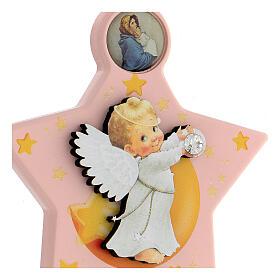 Médaille berceau étoile rose ange s2