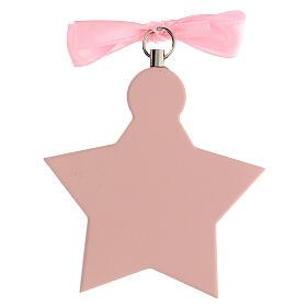 Médaille berceau étoile rose ange s3