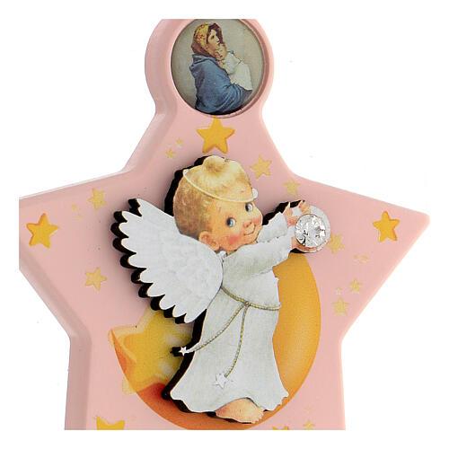 Médaille berceau étoile rose ange 2