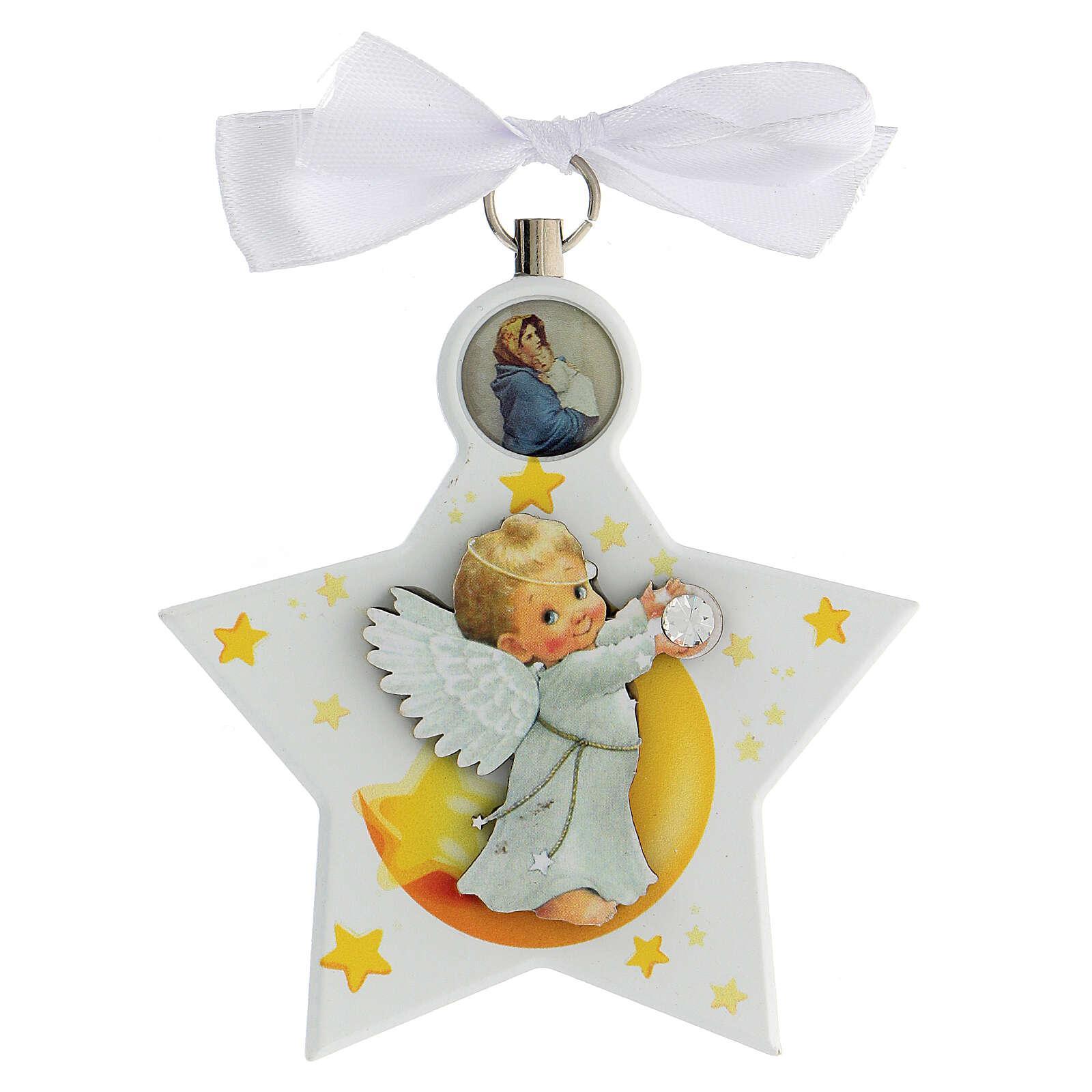 Étoile médaille berceau ange blanc 4