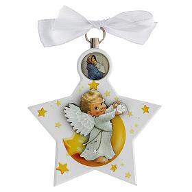 Étoile médaille berceau ange blanc s4