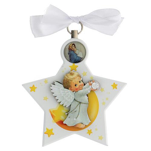 Étoile médaille berceau ange blanc 1