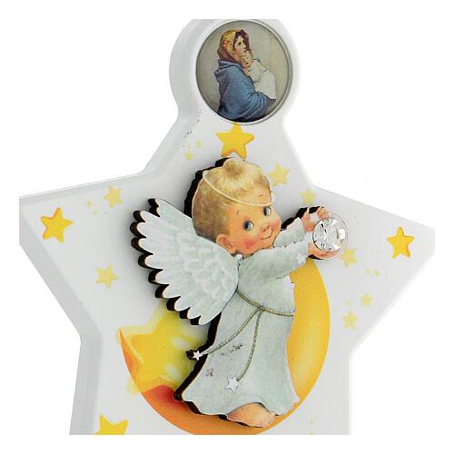 Étoile médaille berceau ange blanc 2