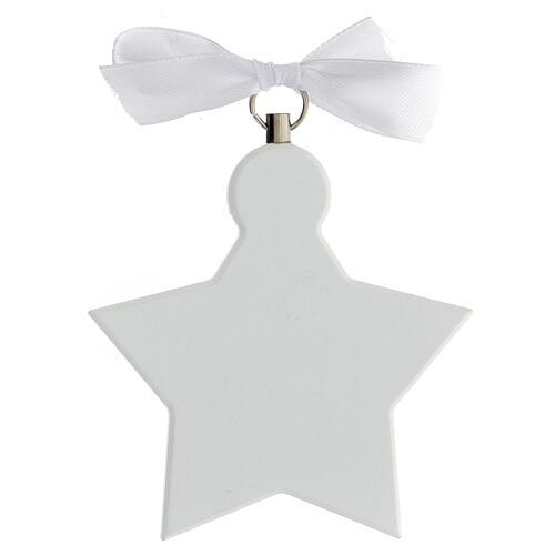 Étoile médaille berceau ange blanc 3