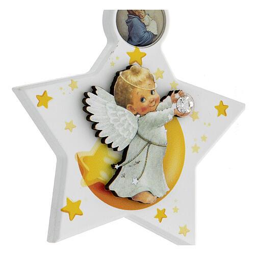 Étoile médaille berceau ange blanc 5