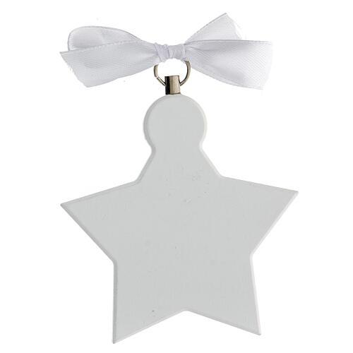 Étoile médaille berceau ange blanc 6