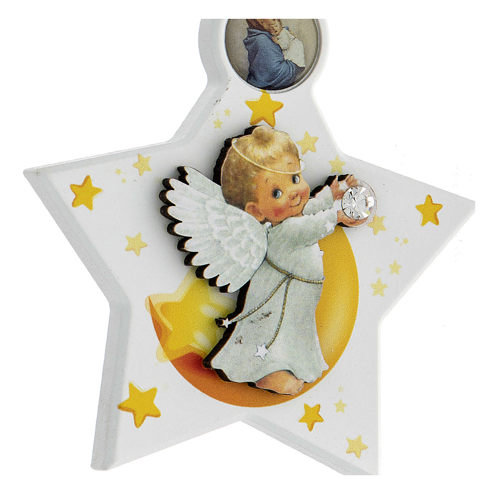 Above crib white star with angel 4