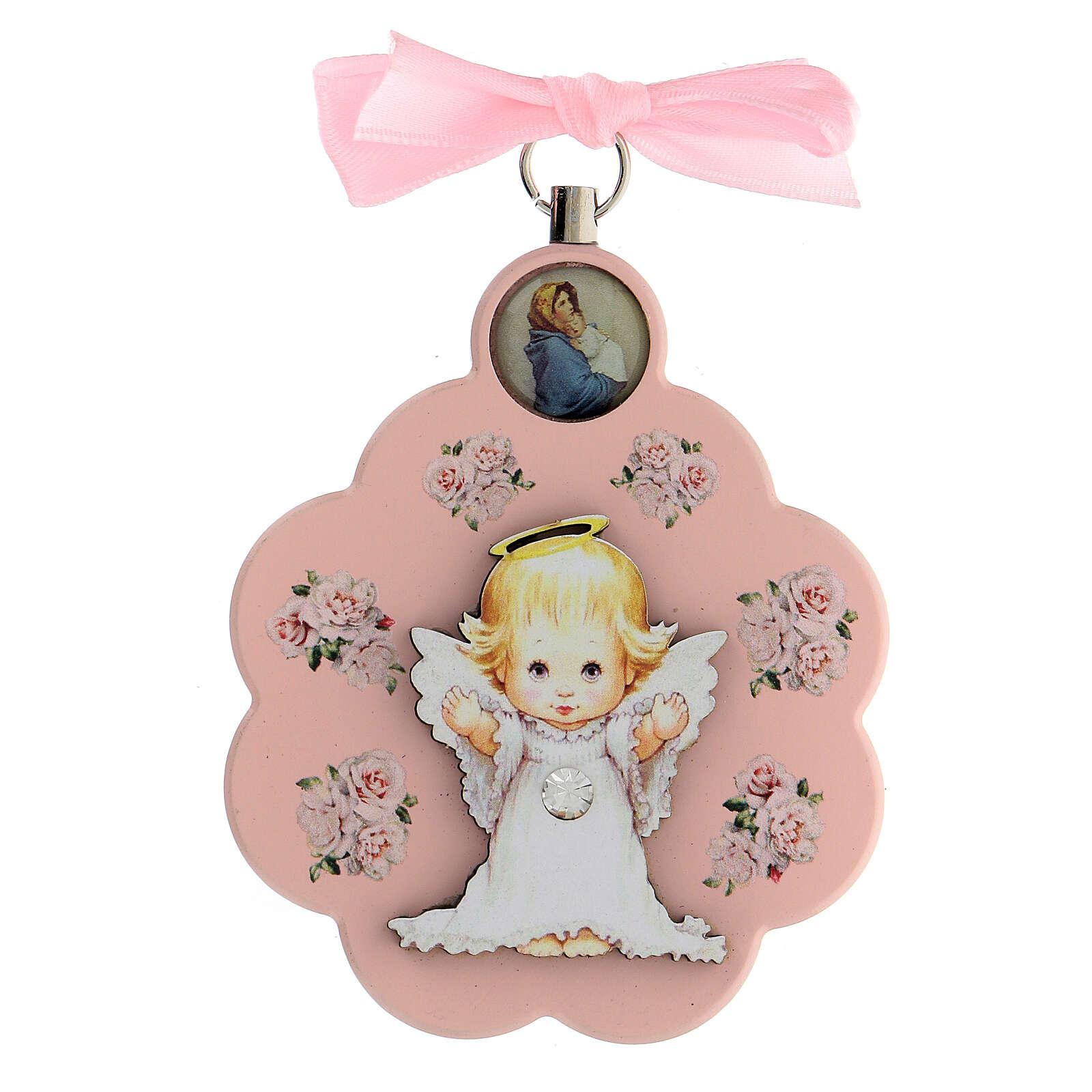 Pink flower angel ribbon cradle top 4