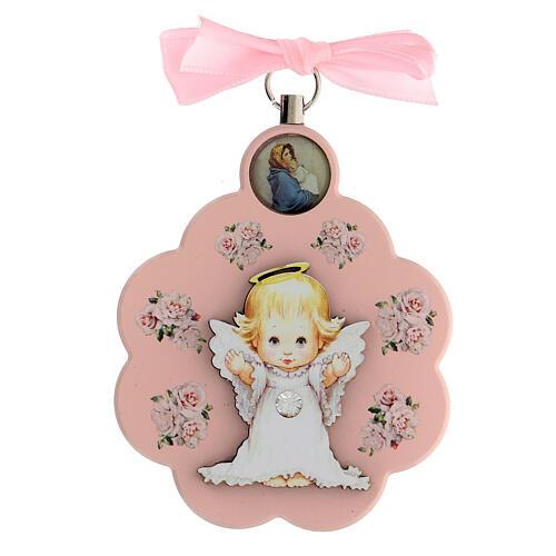 Pink flower angel ribbon cradle top 1