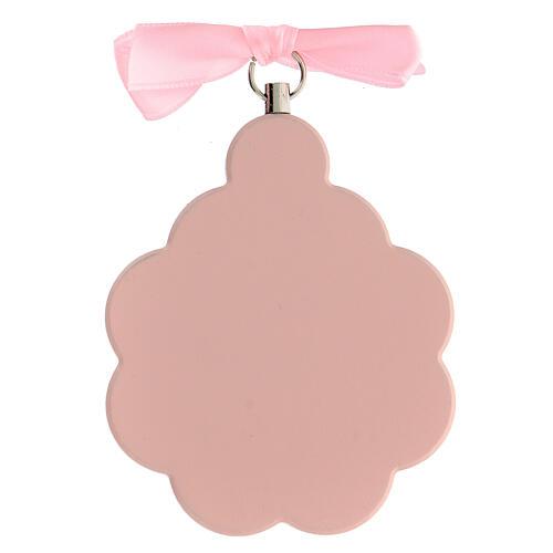 Pink flower angel ribbon cradle top 3