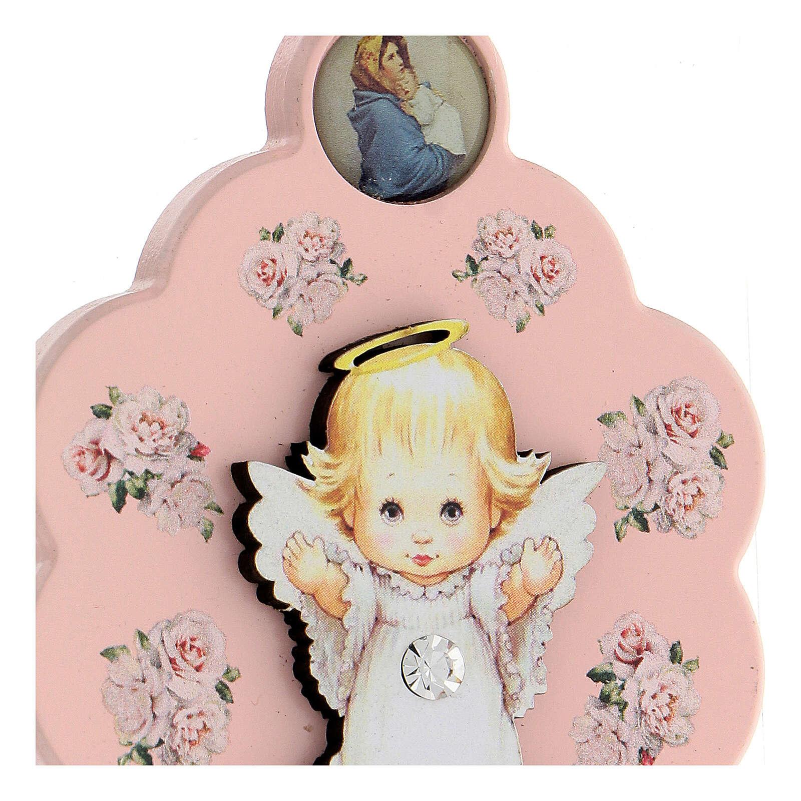 Flor rosa ppara cuna ángel moño 4