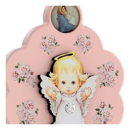 Flor rosa ppara cuna ángel moño 2