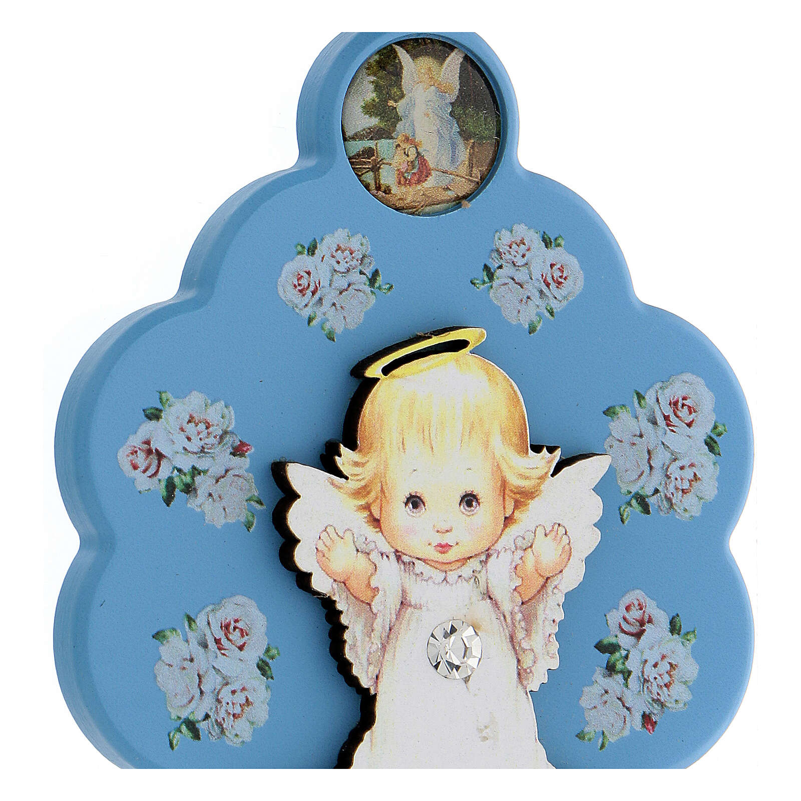 Flower-shaped blue wood souvenir with angel 4