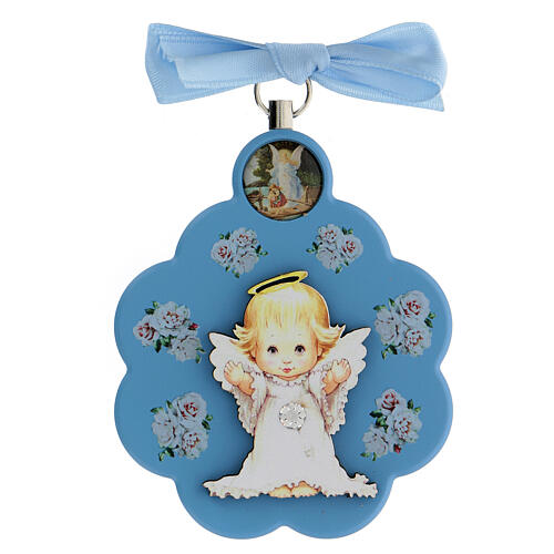 Flower-shaped blue wood souvenir with angel 1
