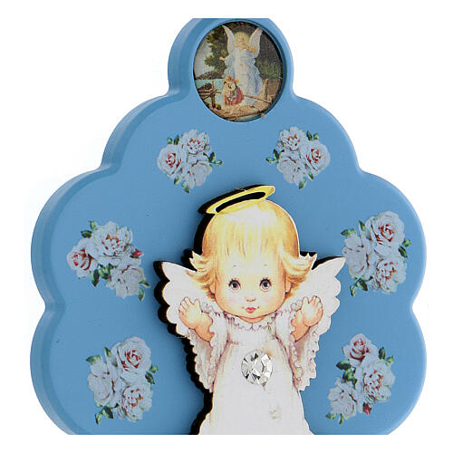 Flower-shaped blue wood souvenir with angel 2