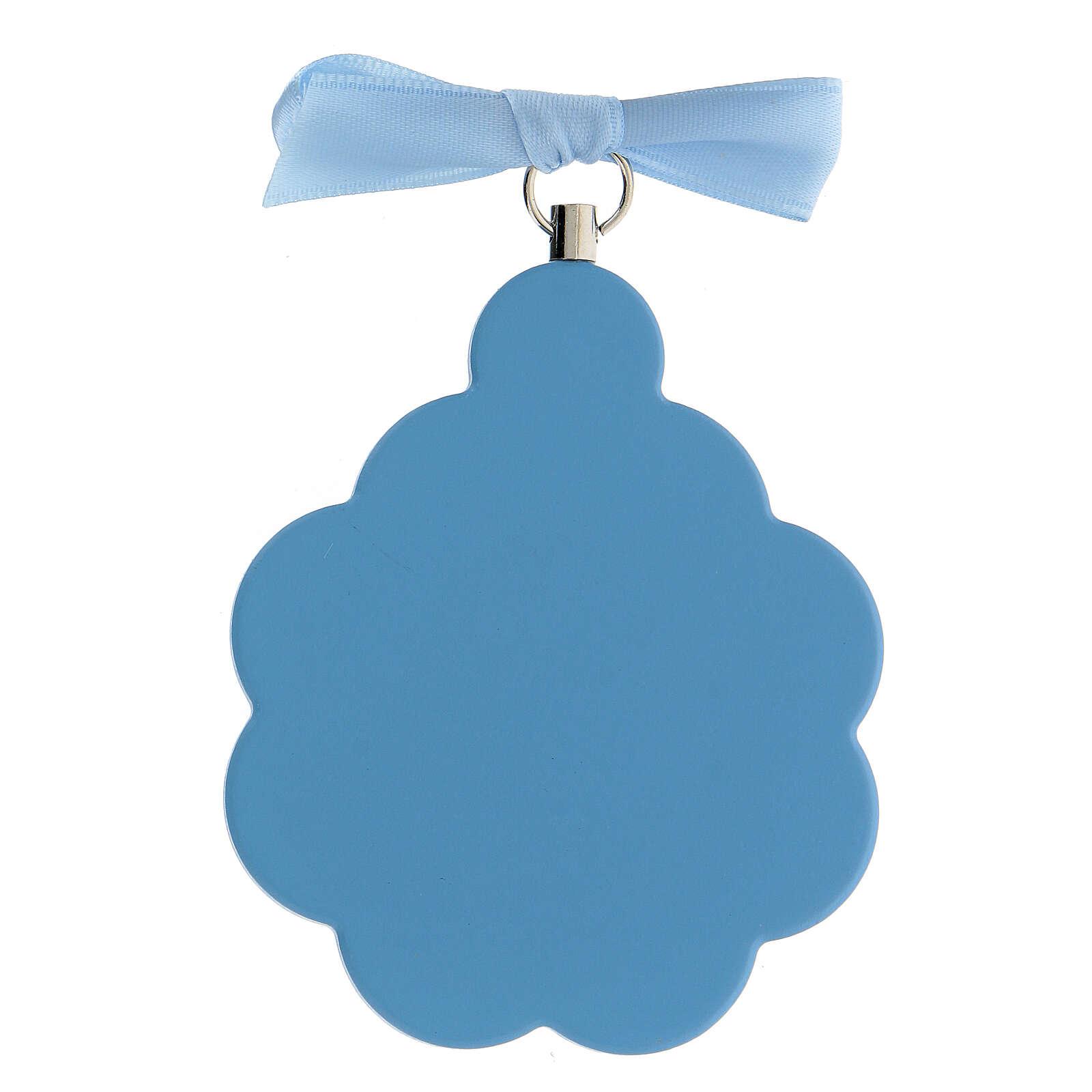 Médaille berceau fleur ange bois bleu 4