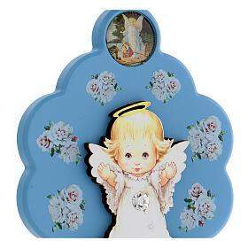 Médaille berceau fleur ange bois bleu s2