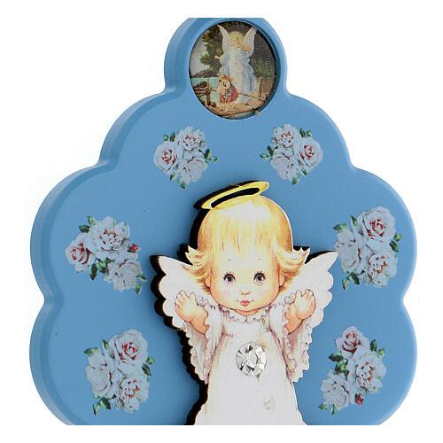 Médaille berceau fleur ange bois bleu 2