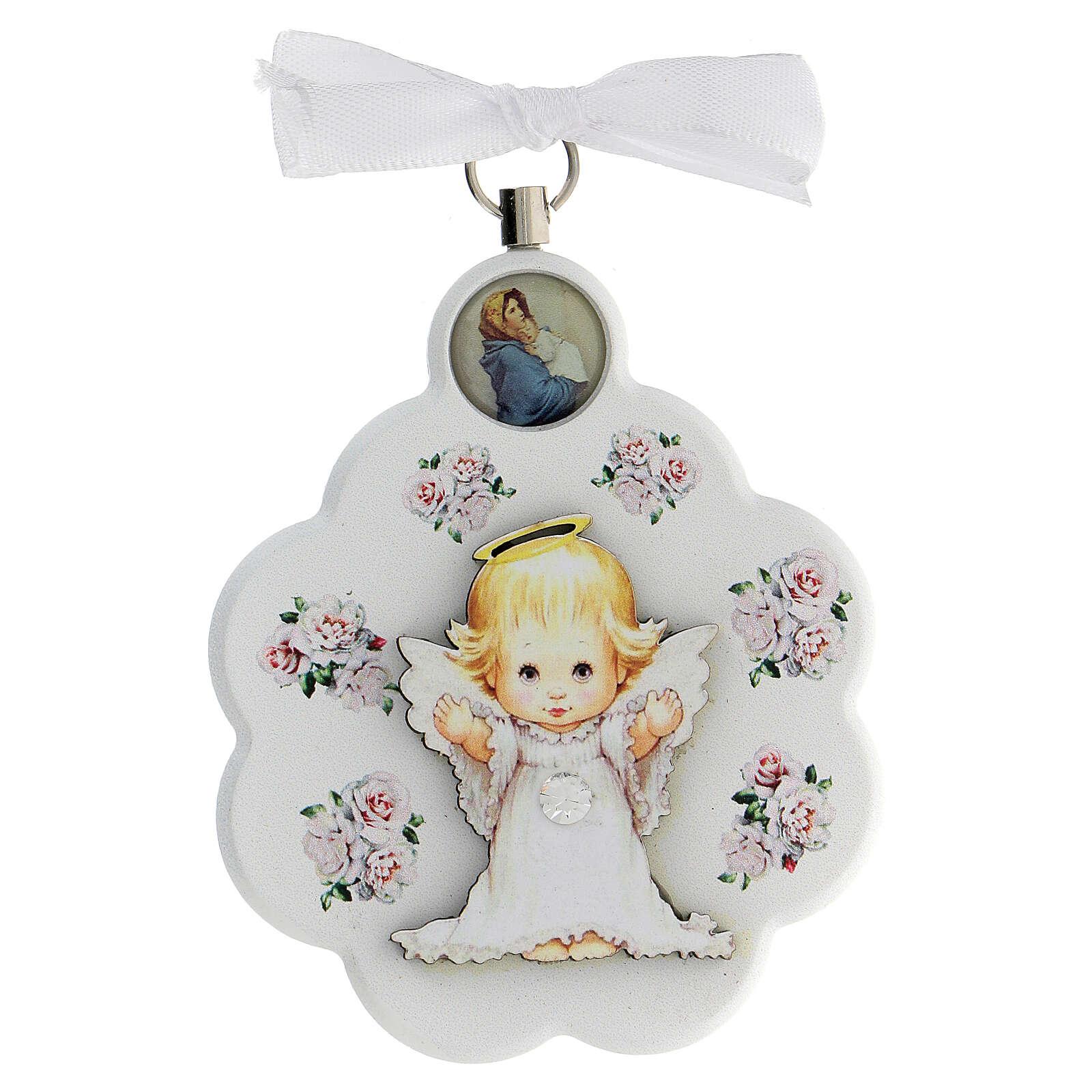 Medalla para cuna blanca flor con ángel 4