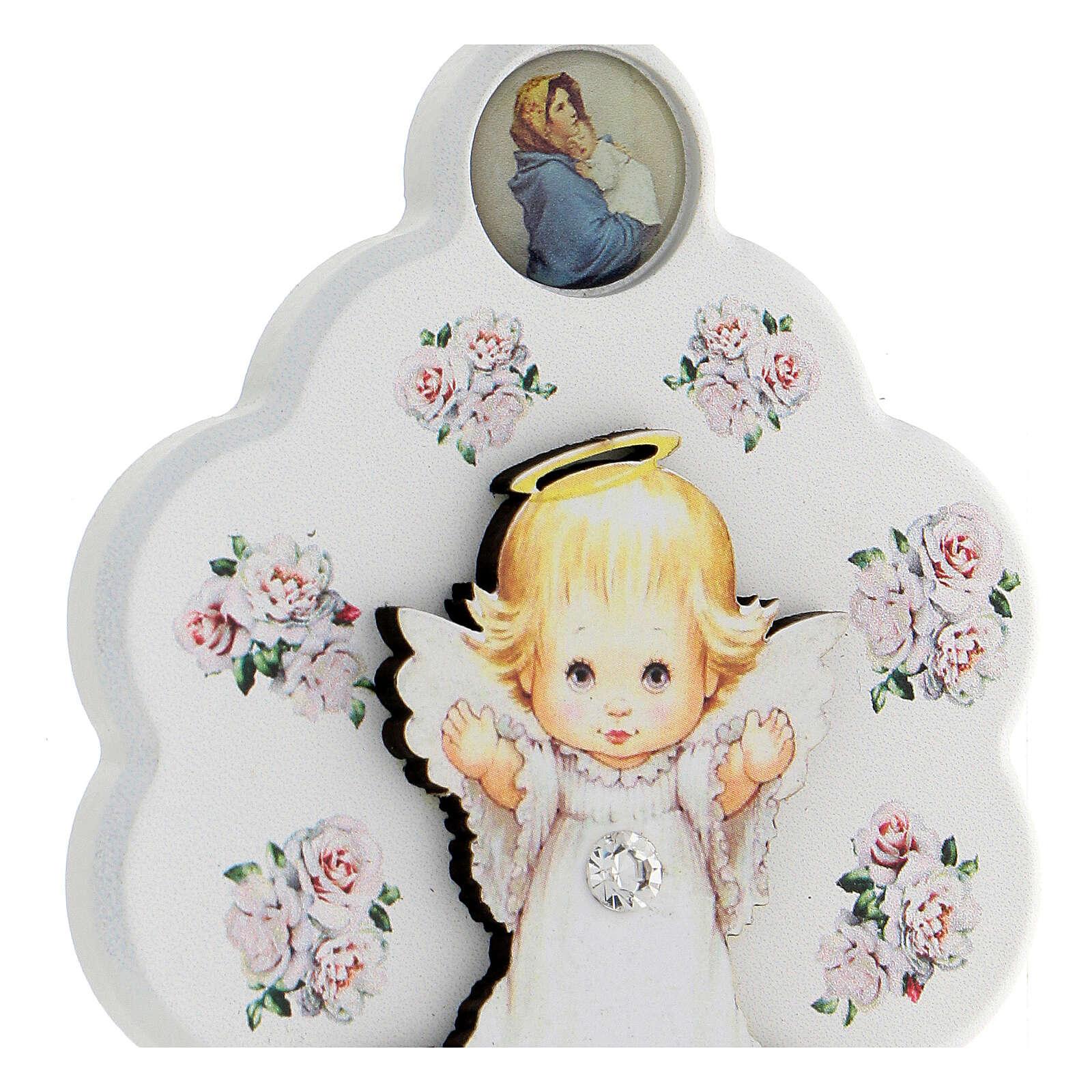 Médaille berceau bois blanc fleur avec ange 4