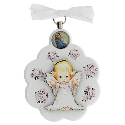 Médaille berceau bois blanc fleur avec ange 1
