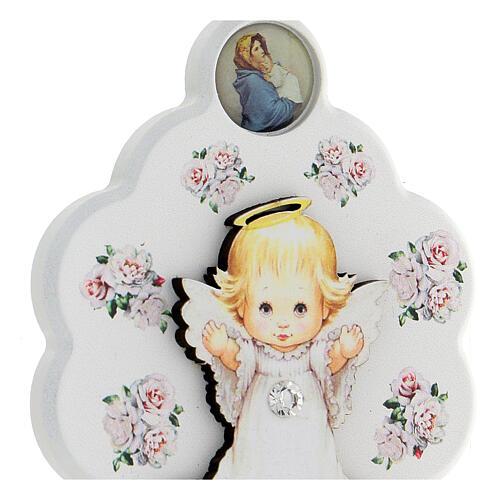 Médaille berceau bois blanc fleur avec ange 2