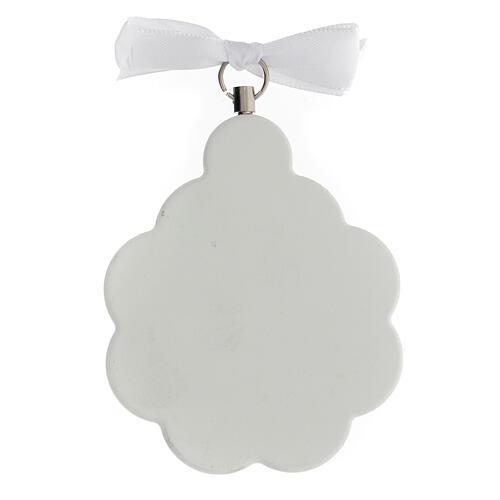 Médaille berceau bois blanc fleur avec ange 3