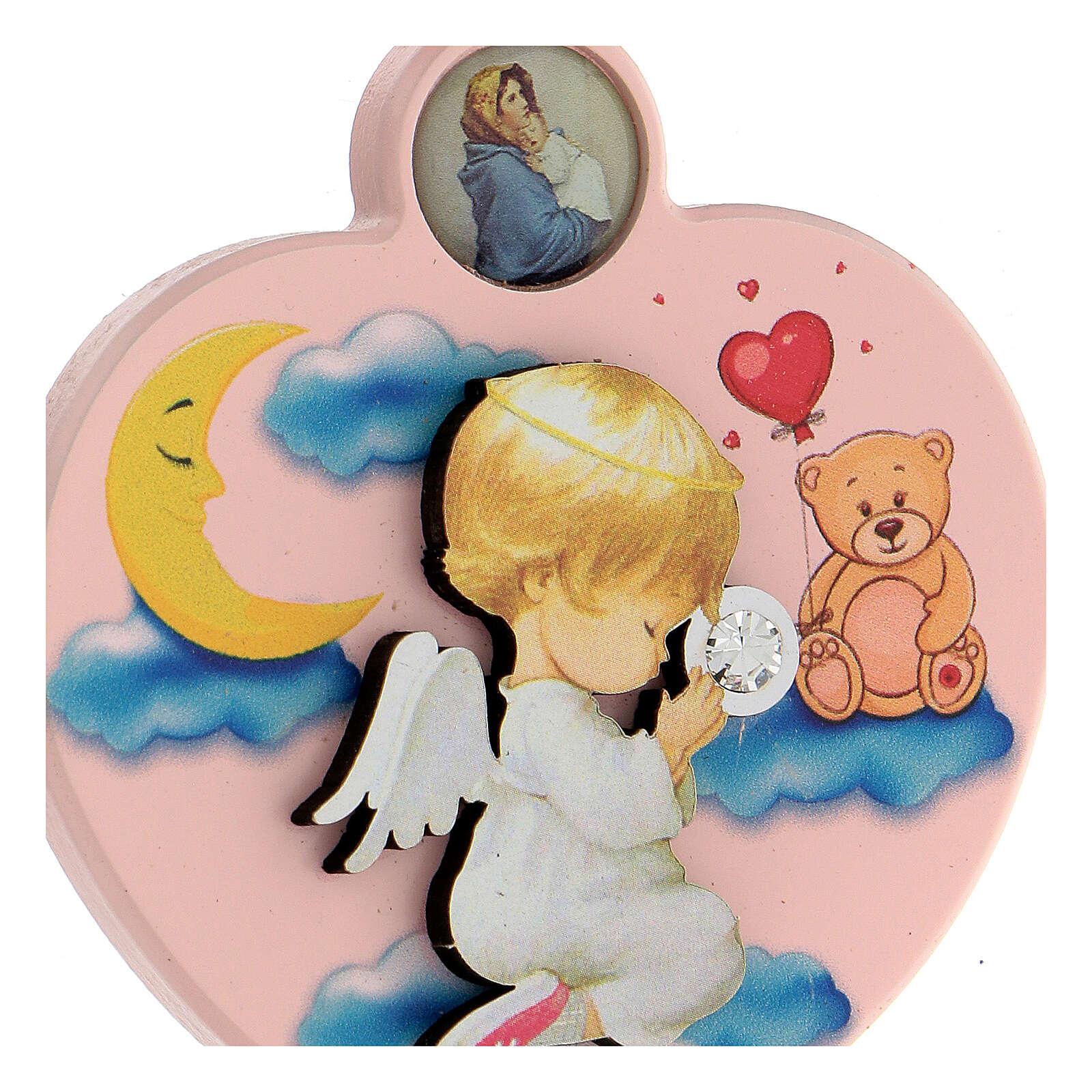 Souvenir médaille berceau coeur fille ange 4