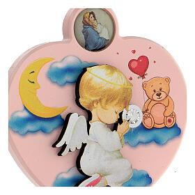 Souvenir médaille berceau coeur fille ange s2