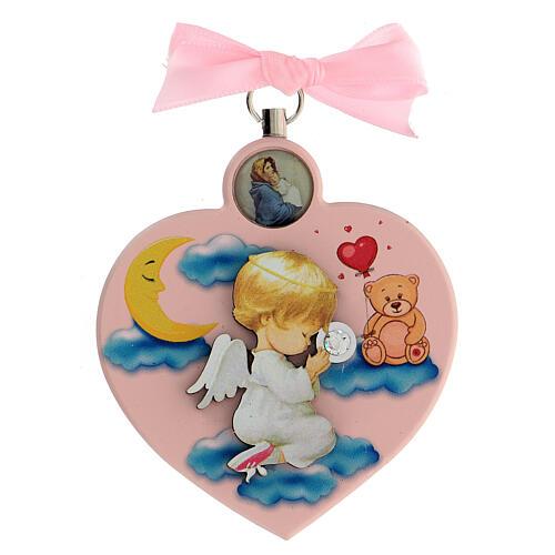 Souvenir médaille berceau coeur fille ange 1