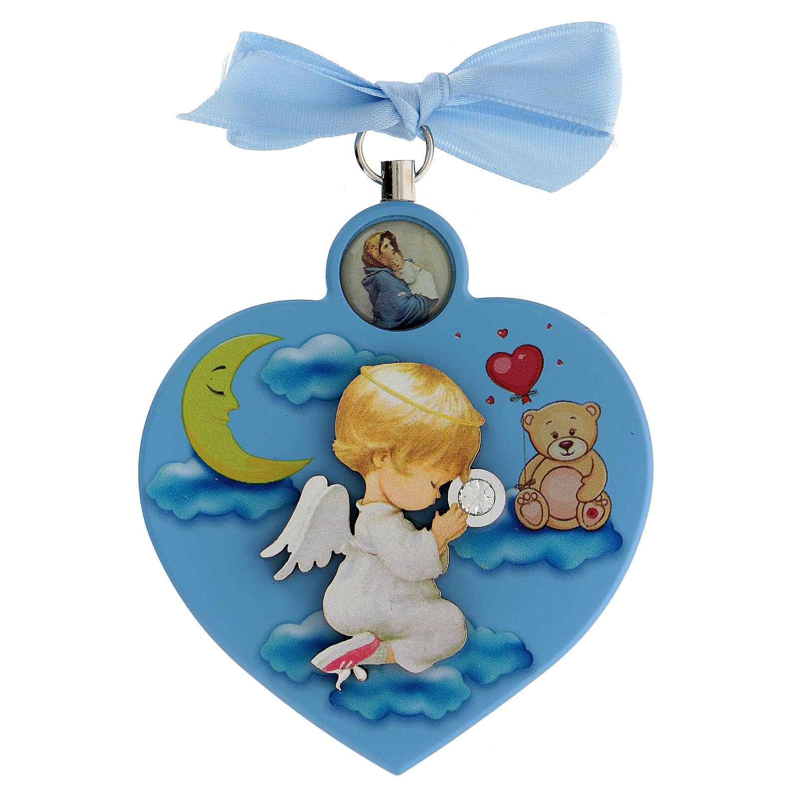 Coeur médaille berceau bleu avec noeud 4