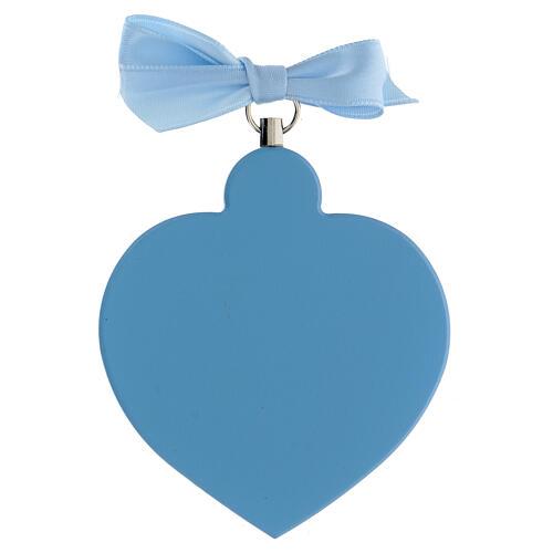 Coeur médaille berceau bleu avec noeud 3