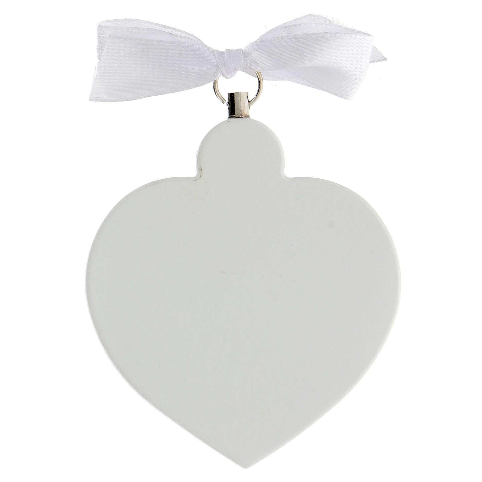 Medalla para cuna corazón blanco ángel que reza 4