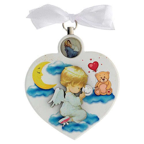 Médaille berceau coeur blanc ange en prière 1