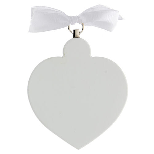 Médaille berceau coeur blanc ange en prière 3