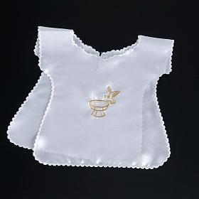 Baptismal gown in satin with dove and baptismal font s5