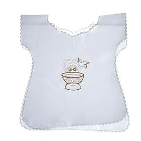 Baptismal gown in satin with IHS and baptismal font s1