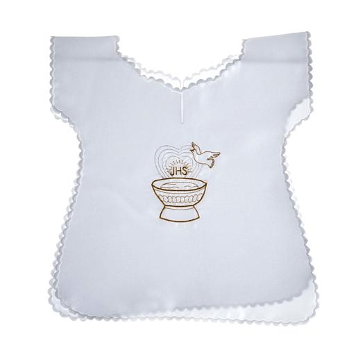 Baptismal gown in satin with IHS and baptismal font 1