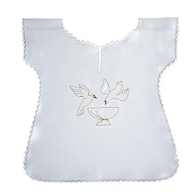 Baptismal gown in satin, doves and baptismal font s1