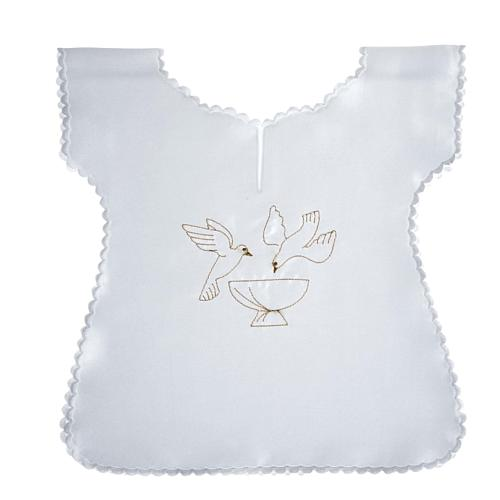 Baptismal gown in satin, doves and baptismal font 1