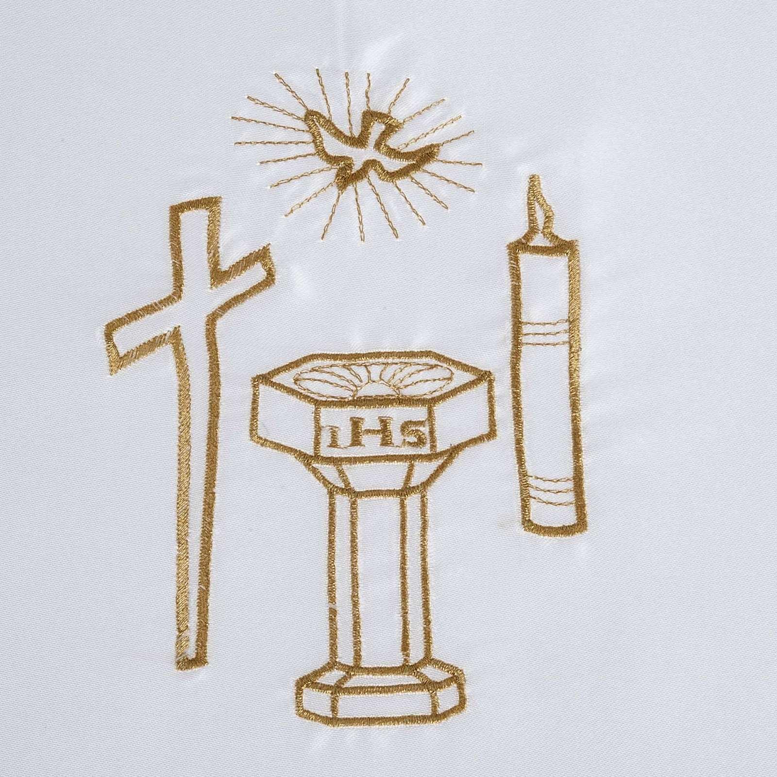 Brassière baptême colombe croix cierge fonts baptismaux satin 4
