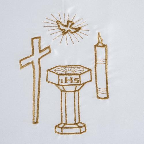 Brassière baptême colombe croix cierge fonts baptismaux satin 2