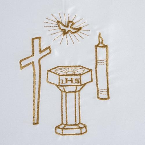 Túnica batismo cetim cruz pomba círio pia 2
