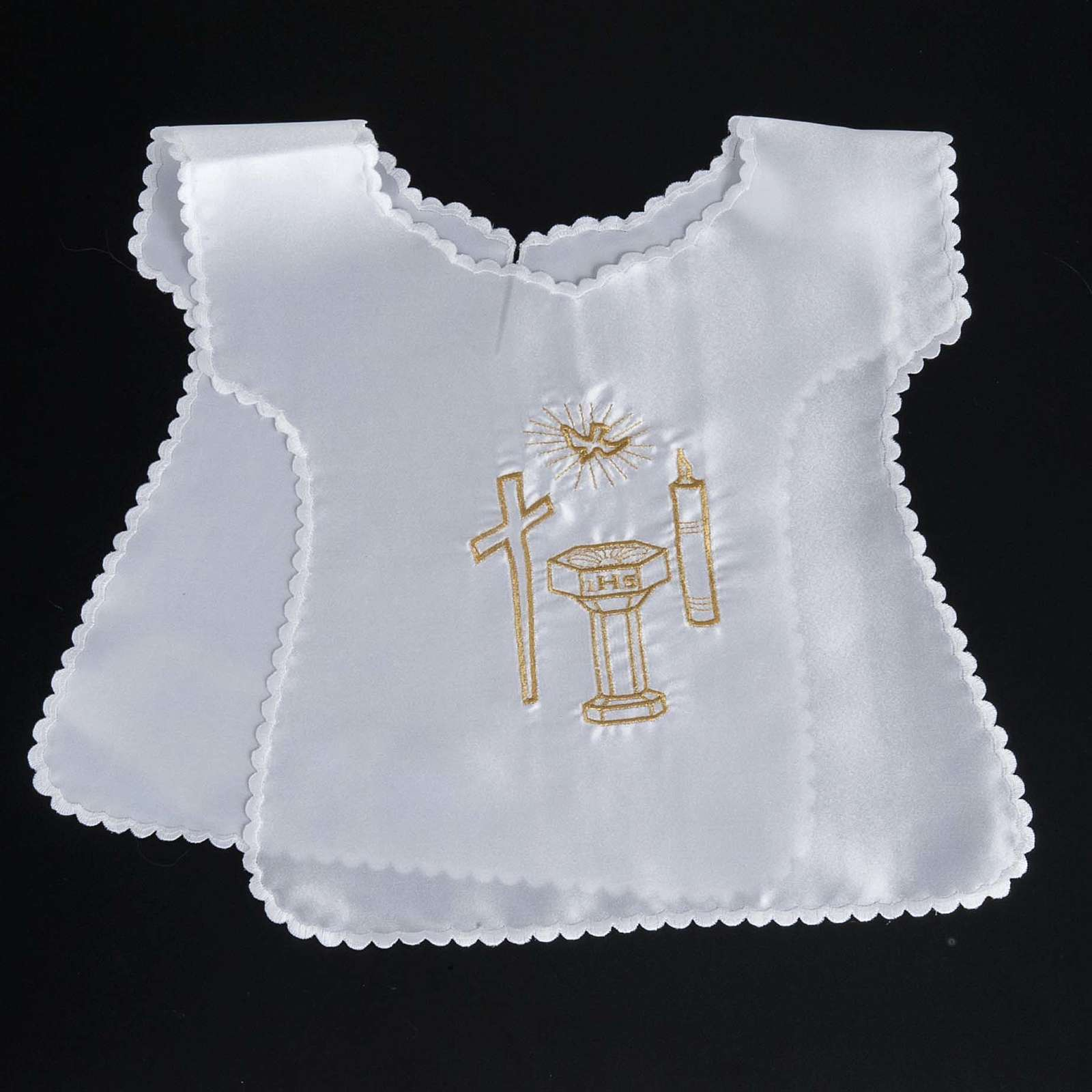 Baptismal gown in satin, cross, dove, candle, font 4