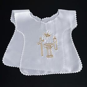 Baptismal gown in satin, cross, dove, candle, font s4