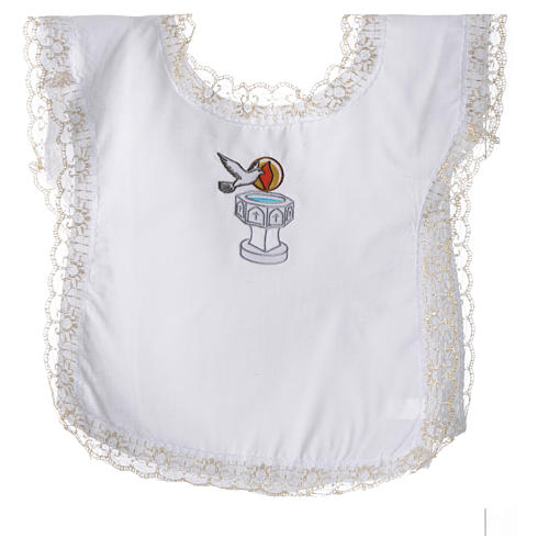 Christening dress with dove, flame and water symbols 4