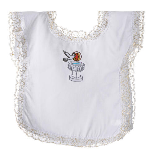 Christening dress with dove, flame and water symbols 1