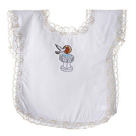 Christening dress with dove, flame and water symbols s1