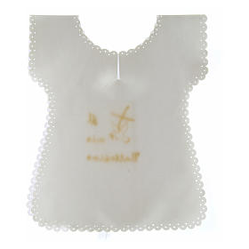 STOCK Baptism gown in satin with golden Dove 38X31 cm s2