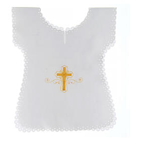 Baptism clothes and candles: Baptism gown in satin with golden cross 38X31 cm